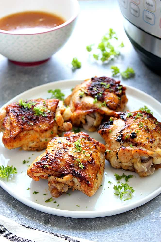 Instant Pot Chicken Thighs Recipe - Crunchy Creamy Sweet