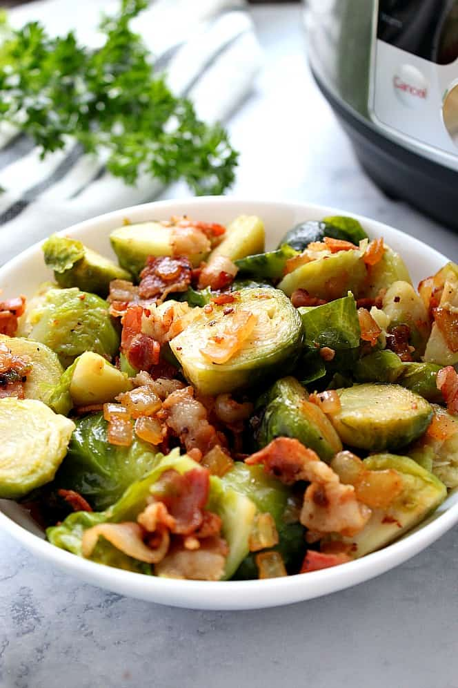 Instant Pot Bacon Brussels Sprouts Recipe - Crunchy Creamy Sweet