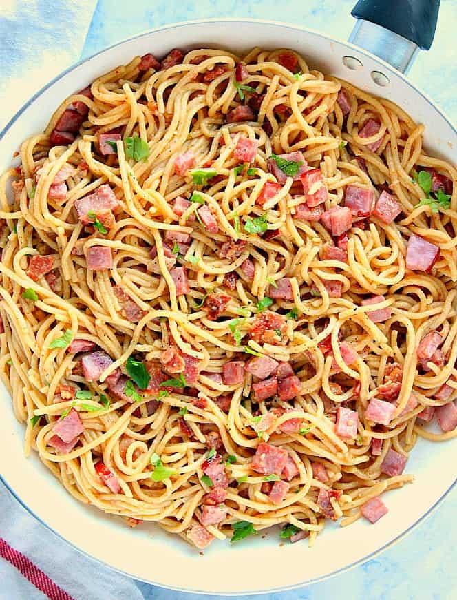 Spaghetti alla Carbonara with Ham 4b Spaghetti alla Carbonara with Ham Recipe