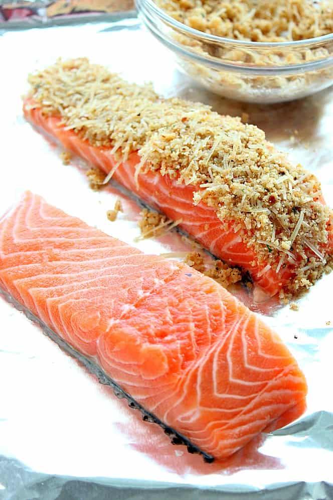 baked salmon with garlic Parmesan crust Garlic Parmesan Crusted Salmon Recipe (Oven and Air Fryer version)