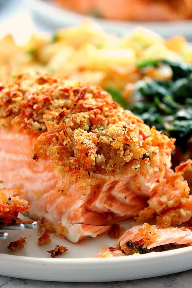garlic Parmesan salmon 1a Garlic Parmesan Crusted Salmon Recipe (Oven and Air Fryer version)