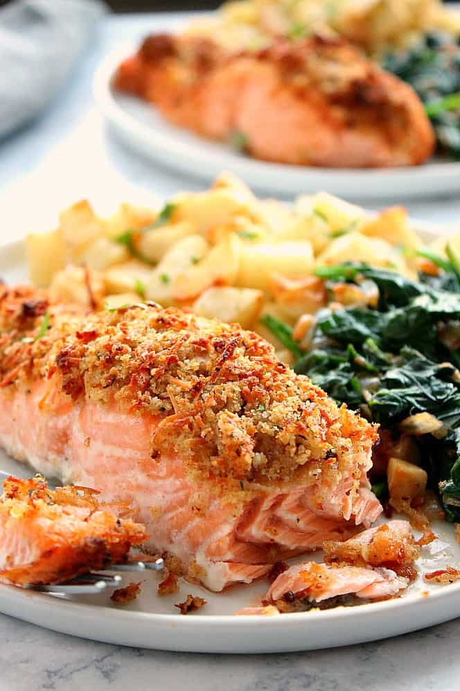 garlic Parmesan salmon 4a Garlic Parmesan Crusted Salmon (Oven and Air Fryer version)