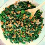 Sauteed spinach in a pan.