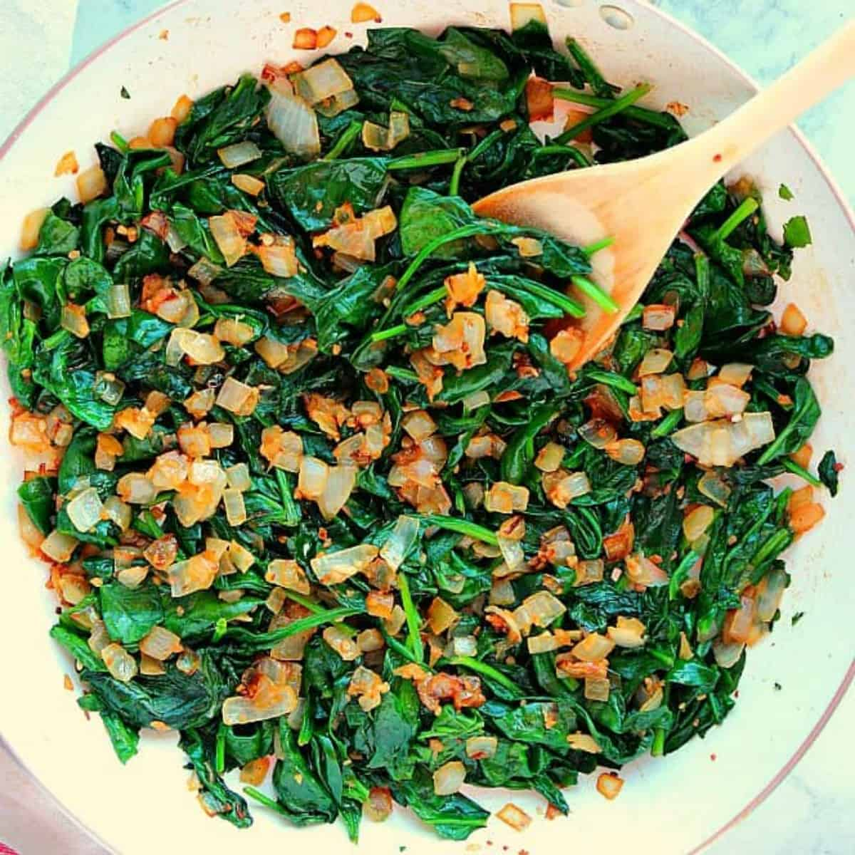 Best Sauteed Spinach - Crunchy Creamy Sweet