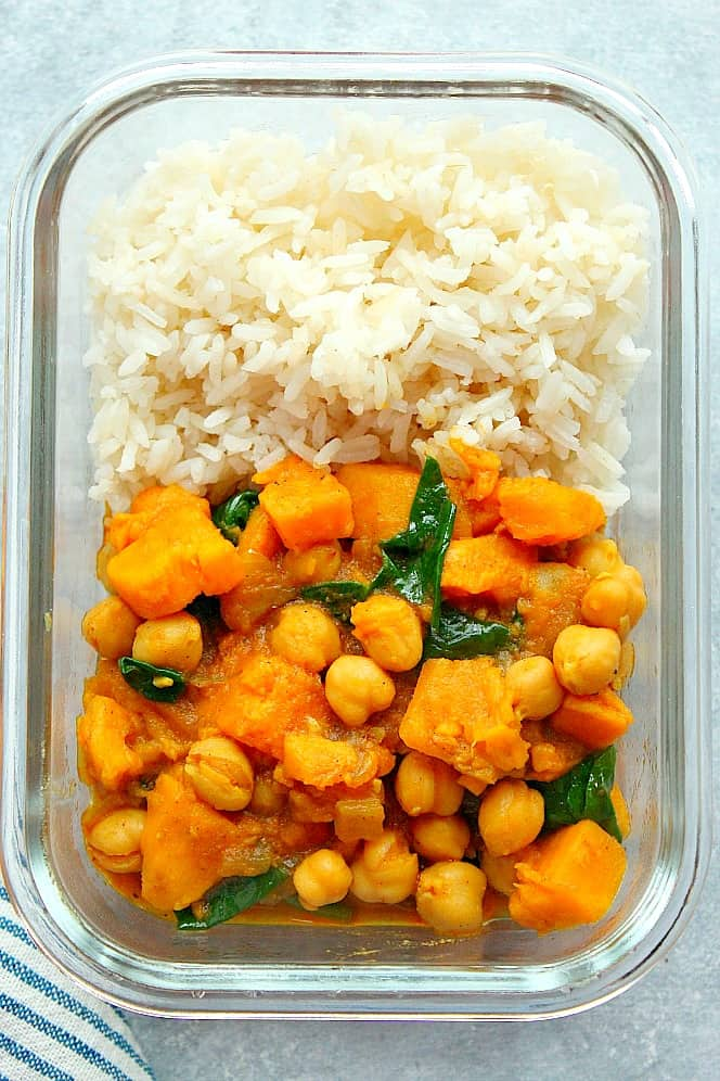 Instant Pot sweet potato curry meal prep 1a Instant Pot Sweet Potato Curry