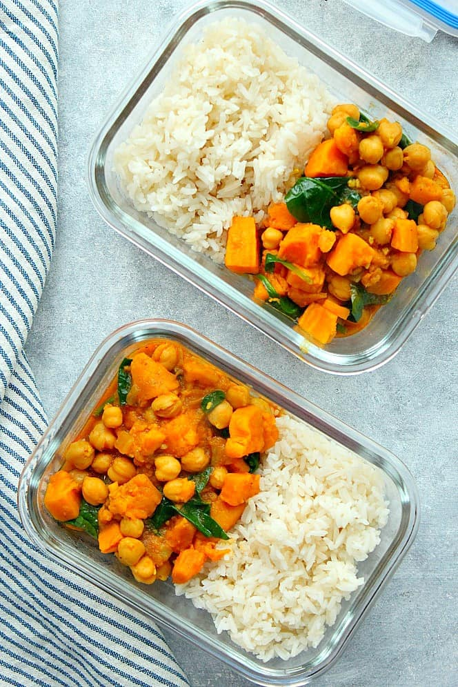 Instant Pot sweet potato curry meal prep 2a Instant Pot Sweet Potato Curry