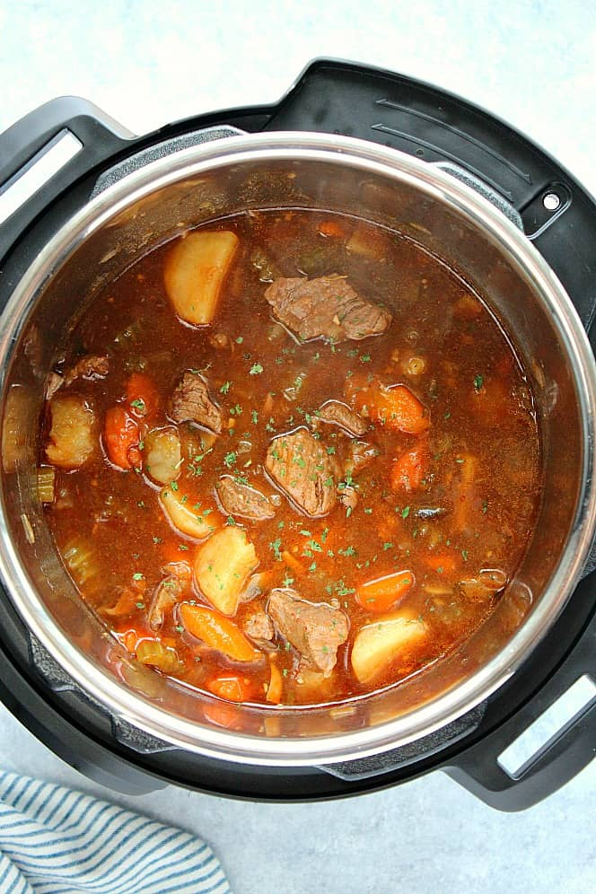 Instant Pot beef stew in pot 1 Instant Pot Beef Stew