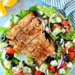 overhead shot of salmon salad A 150x150 Greek Salmon Salad