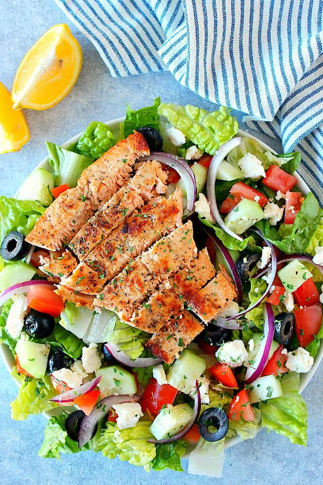 overhead shot of salmon salad Greek Salmon Salad