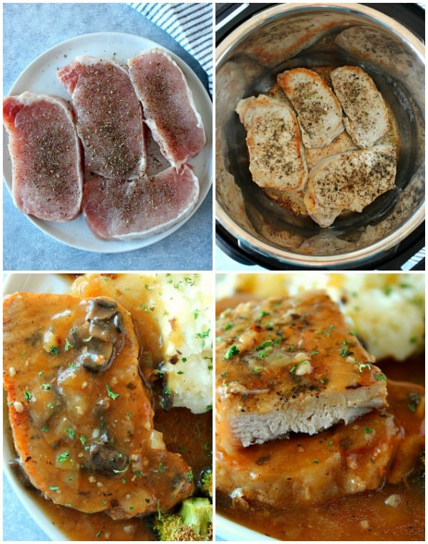photo collage with steps of making pork chops in Instant Pot Instant Pot Smothered Pork Chops Recipe