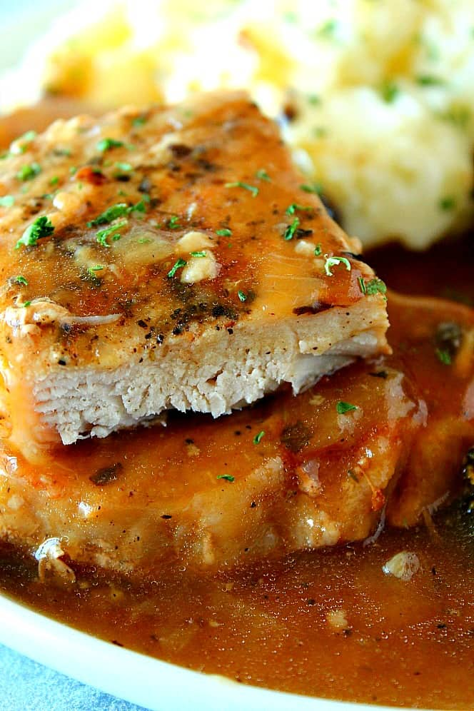 smothered pork chops 1 Instant Pot Smothered Pork Chops Recipe