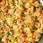 Shrimp Fried Rice in a stainless steel skillet.