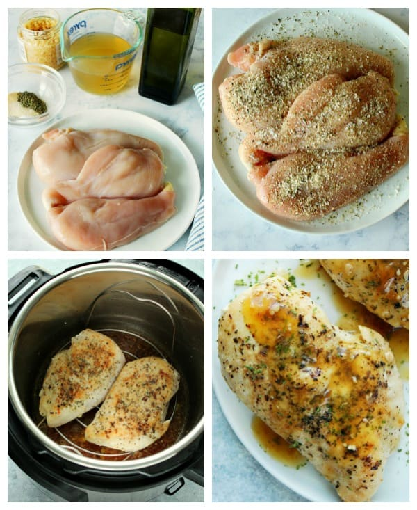 IP chicken breast steps Collage Easy Instant Pot Chicken Breast