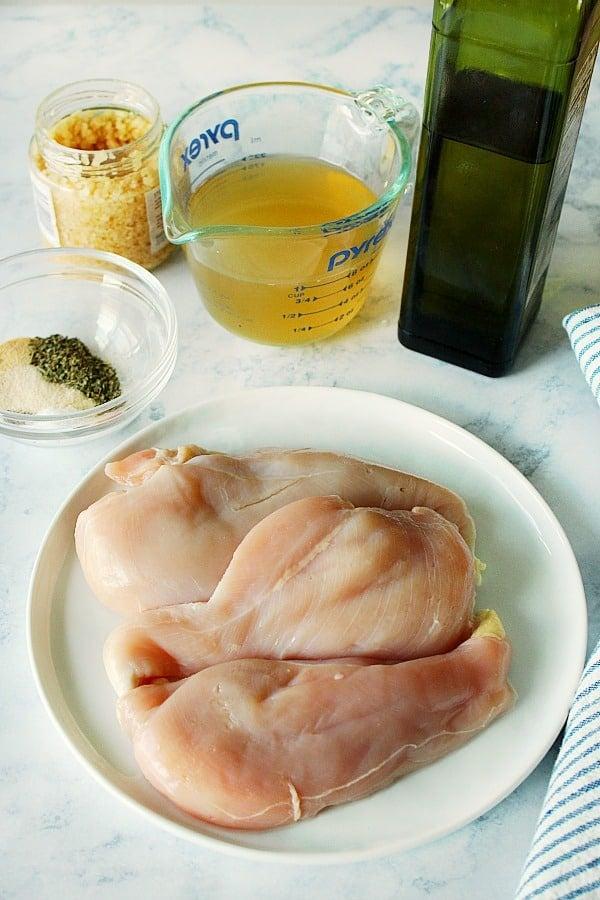 ingredients for IP chicken breast Easy Instant Pot Chicken Breast