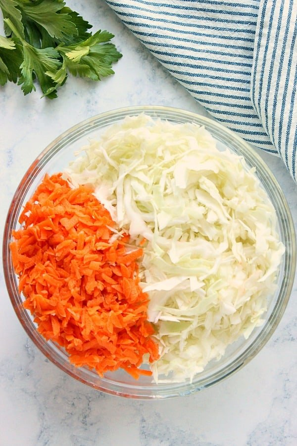 carrots and cabbage for coleslaw A Easy Creamy Coleslaw
