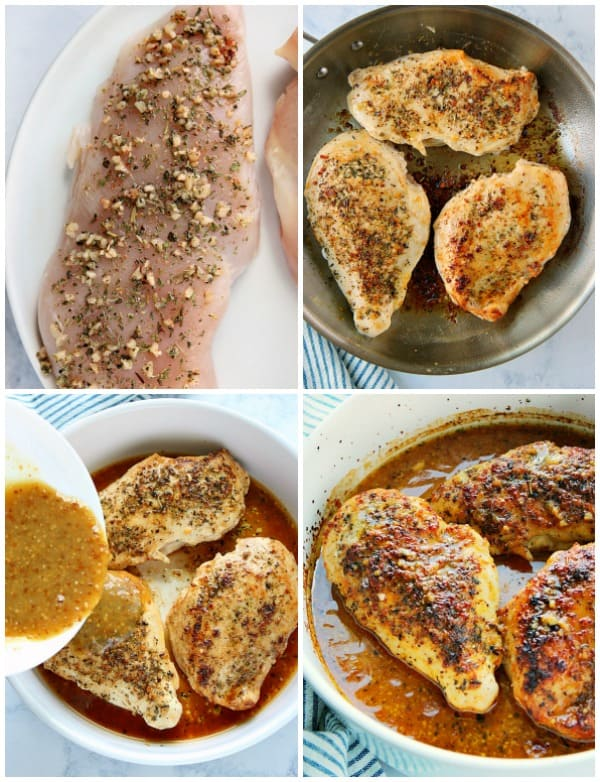 honey mustard chicken steps collage Baked Honey Mustard Chicken