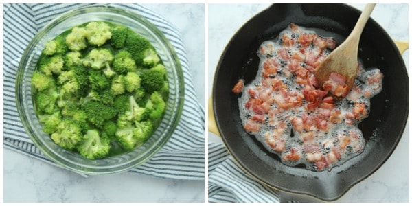 creamy broccoli step 1 Collage Creamy Broccoli with Bacon
