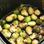 Air Fryer Brussels Sprouts in air fryer basket.