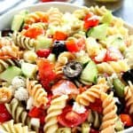 Italian pasta salad in a bowl.