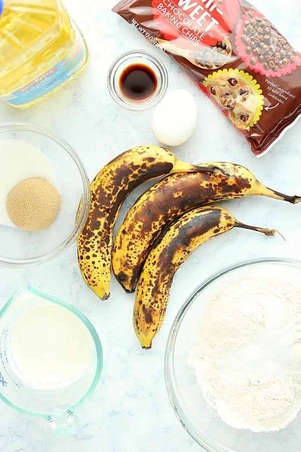 banana bread ingredients One Bowl Banana Bread