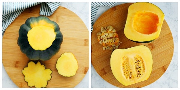 how to cut acorn squash step 1 and 2 a Baked Acorn Squash