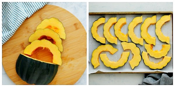 how to cut acorn squash step 3 and 4 a Baked Acorn Squash