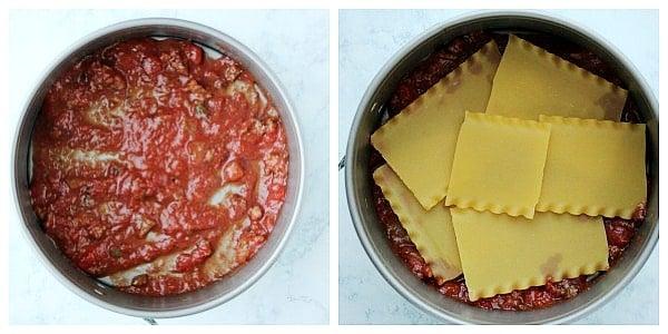 step 2a layer sauce and noodles Instant Pot Lasagna