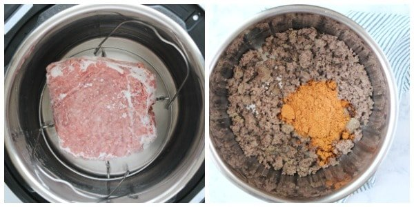step 1 and 2 of making IP taco meat Instant Pot Taco Meat