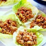 Chicken Lettuce Wraps on a white plate.