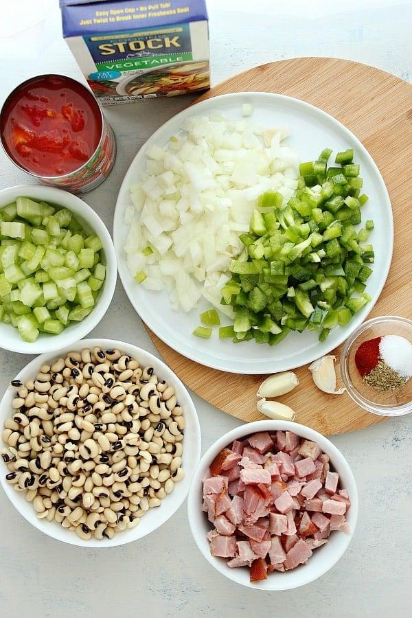 black eyed peas ingredients Black Eyed Peas with Ham