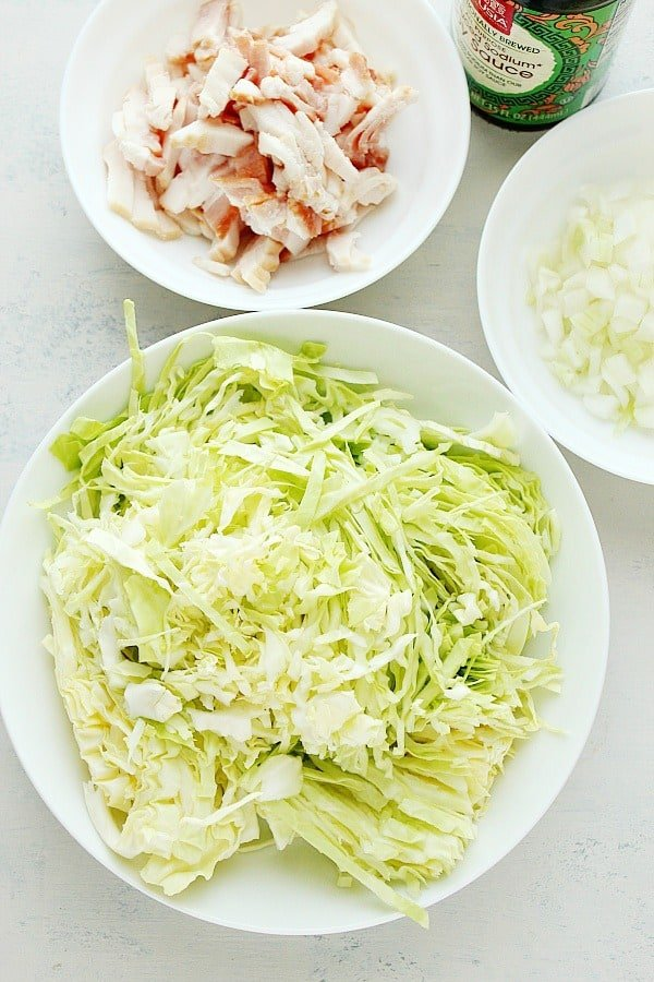 fried cabbage ingredientsA Fried Cabbage