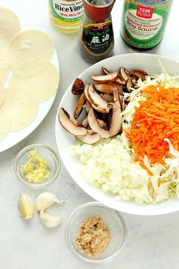 ingredients for vegetable potstickers Easy Vegetable Potstickers