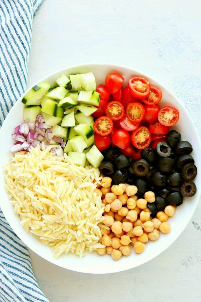 orzo pasta salad ingredients 683x1024 Orzo Pasta Salad