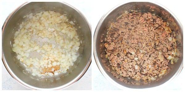 Stroganoff Instant Pot beef passo 1 e 2 Stroganoff Instant Pot Beef