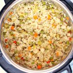 Chicken and rice in the Instant Pot.