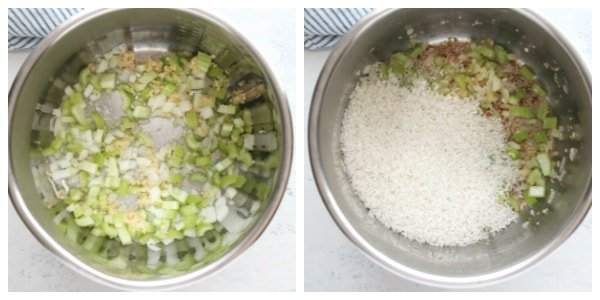 Instant Pot chicken and rice step 1 and 2 Instant Pot Chicken and Rice