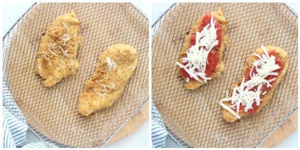 air fryer chicken Parmesan steps Collage Air Fryer Chicken Parmesan