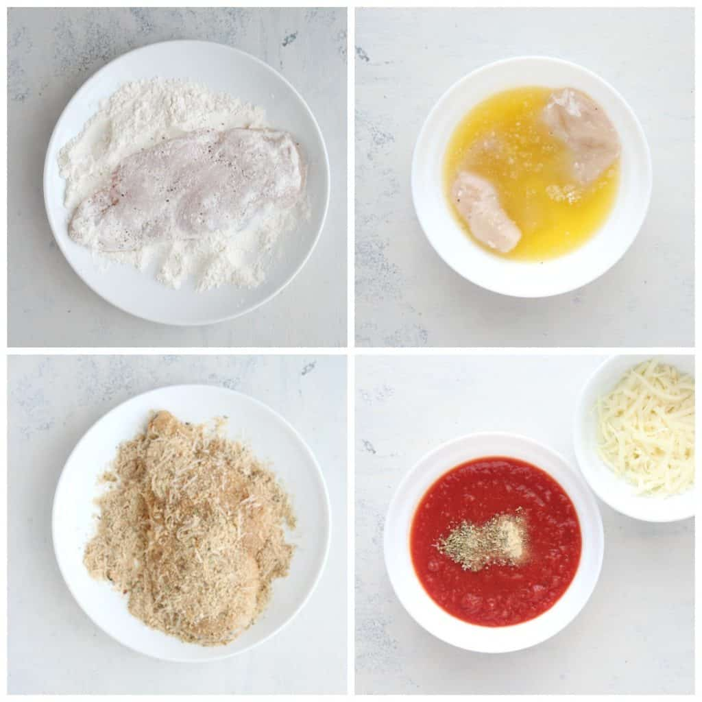 air fryer chicken parmesan how to Collage 1024x1024 Air Fryer Chicken Parmesan