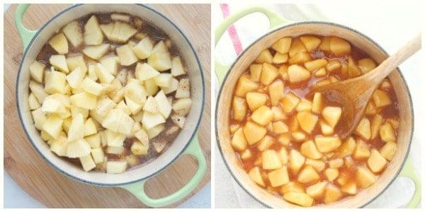 Recheio de torta de maçã etapa 3 e 4 Recheio de torta de maçã