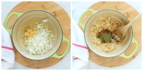 marinara sauce step 1 and 2 Simple Marinara Sauce Recipe