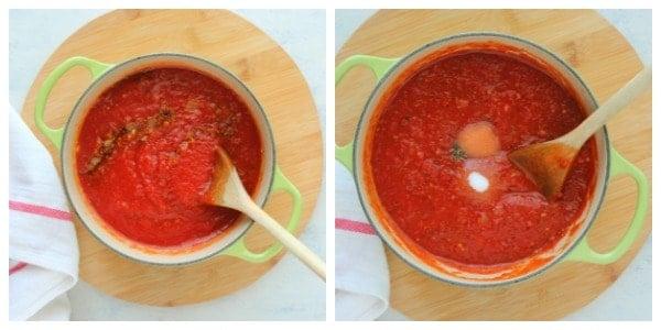 marinara sauce step 3 and 4 Simple Marinara Sauce Recipe