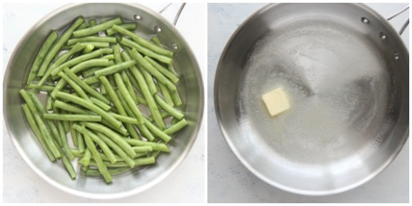 sauteed green beans step 1 and 2 Sauteed Green Beans