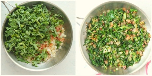 sauteed kale step 3 and 4 Sauteed Kale with Bacon