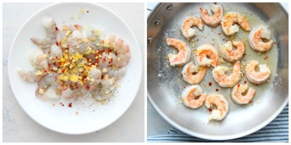 shrimp scampi step 1 and 2 Easy Shrimp Scampi Recipe