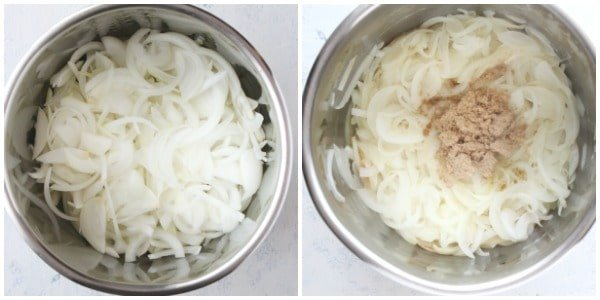 Instant Pot French onion soup step 1 and 2 Instant Pot French Onion Soup