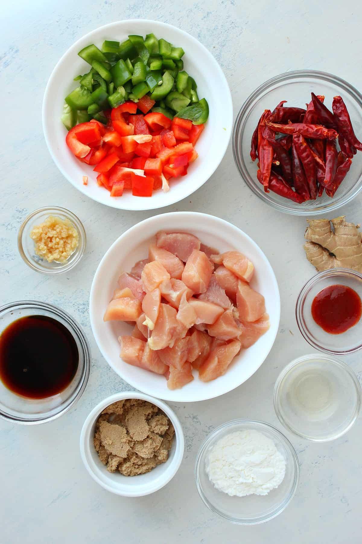 Ingredientes de frango kung pao frango kung pao