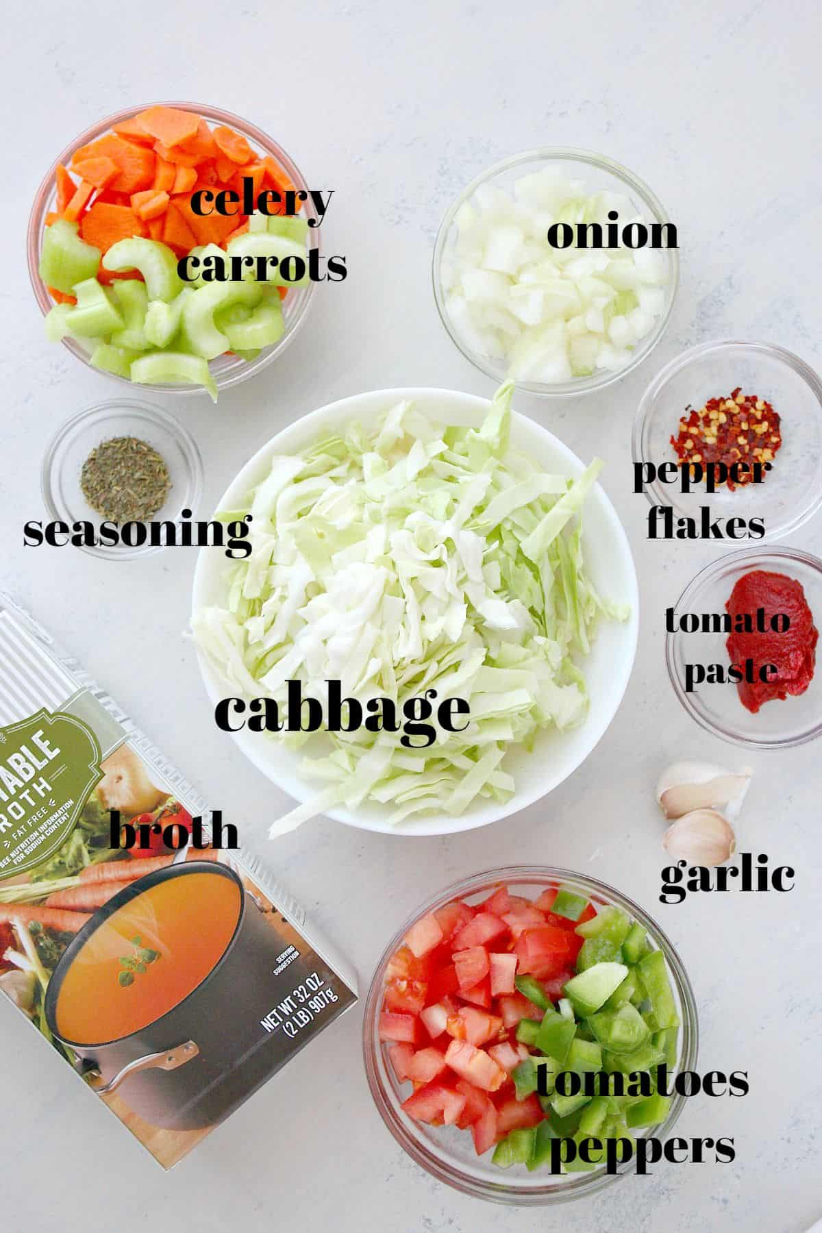 cabbage soup ingredients2a Cabbage Soup