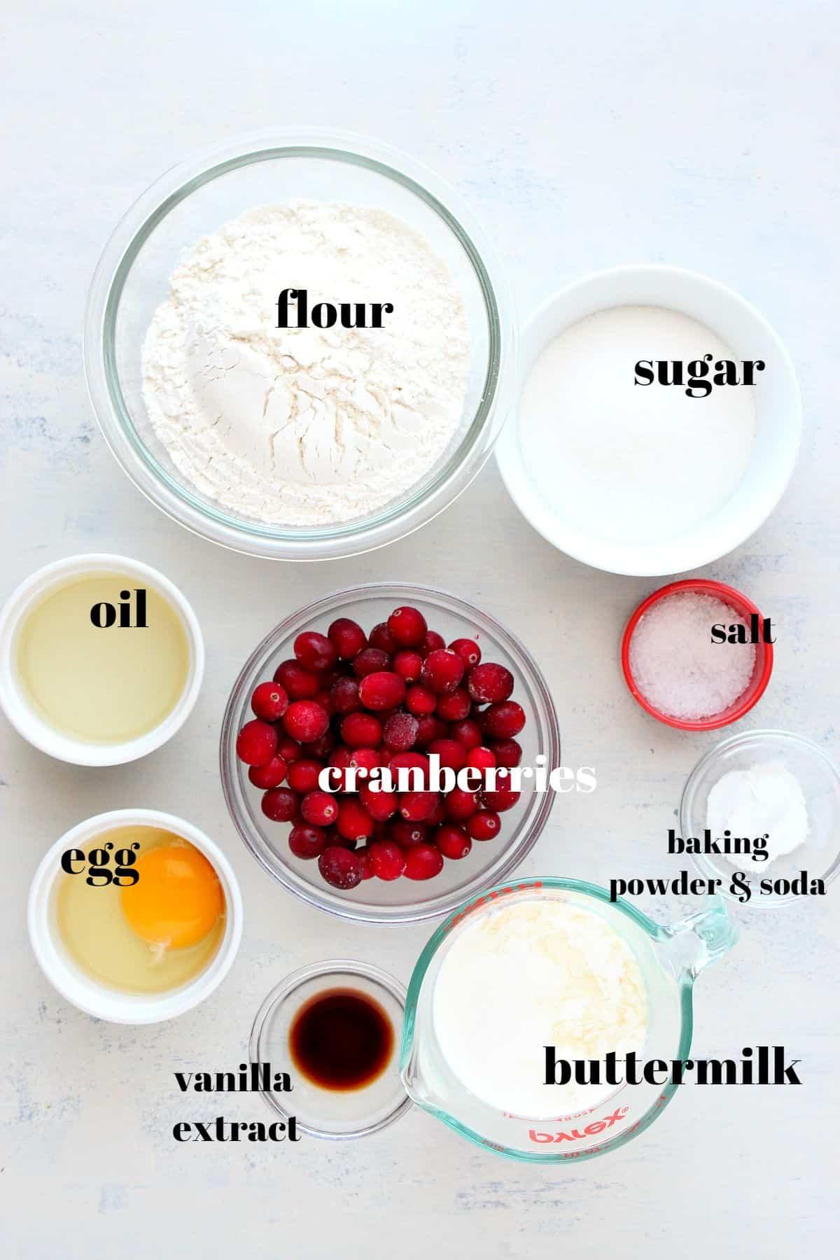 cranberry muffins ingredients 1 Glazed Cranberry Muffins