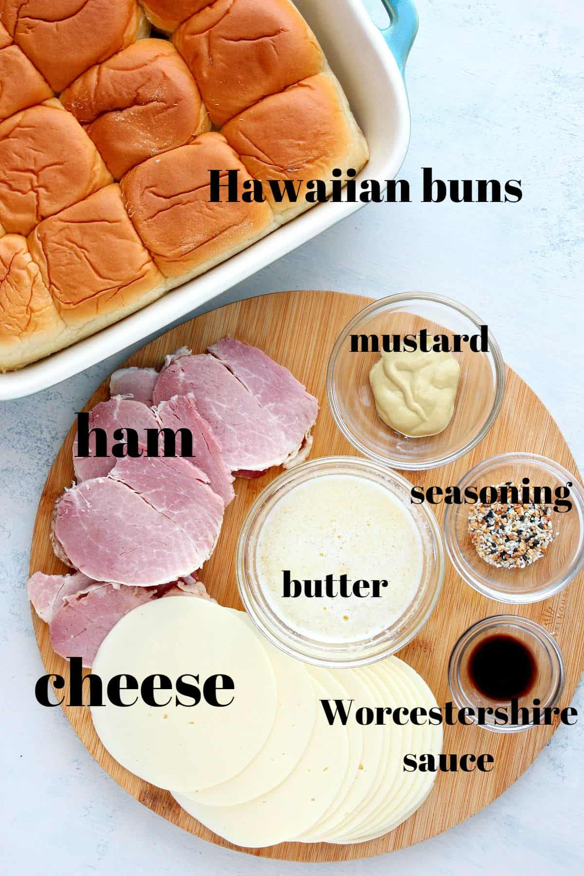 ham and cheese sliders ingredients 1 Ham and Cheese Sliders