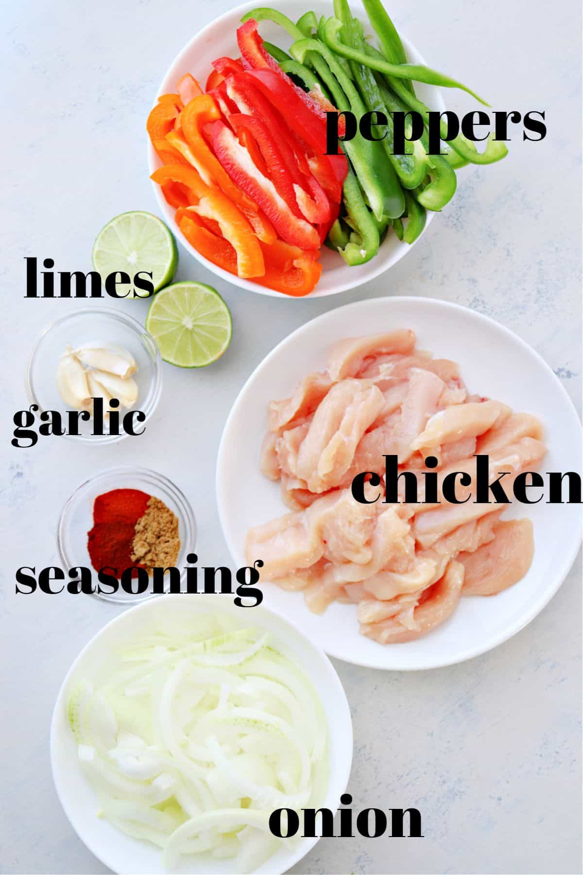 chicken fajitas ingredients 1 Easy Chicken Fajitas